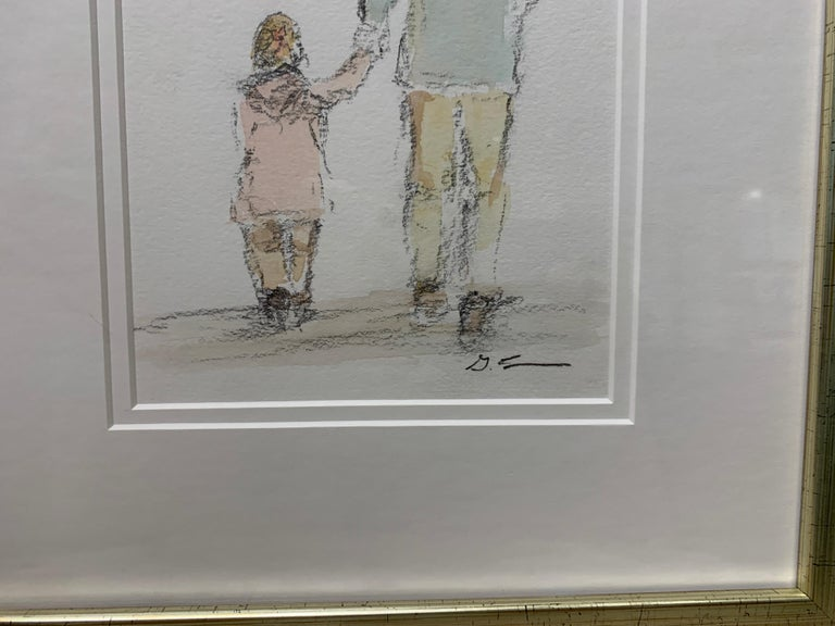 Daddy's Girl by Geri Eubanks, Petite Framed Impressionist Oil Painting For Sale 5