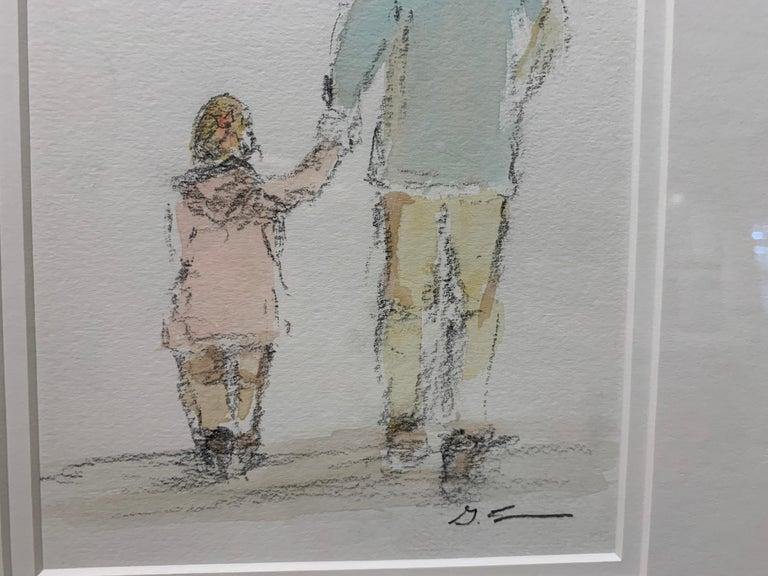 Daddy's Girl by Geri Eubanks, Petite Framed Impressionist Oil Painting For Sale 6