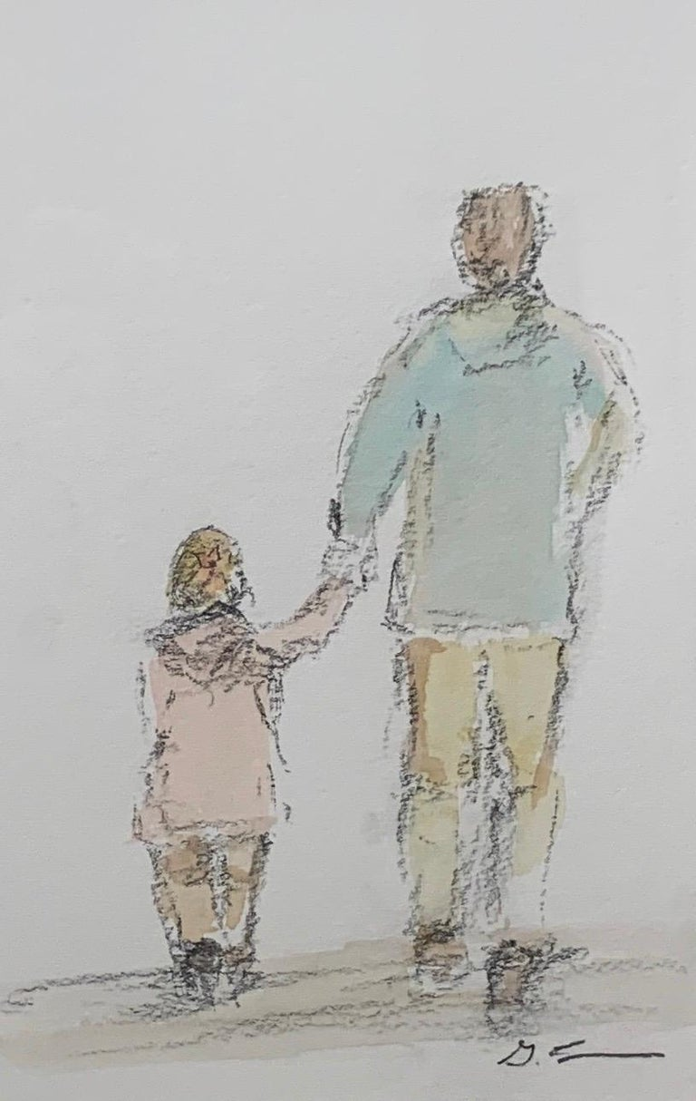 'Daddy's Girl' is a petite framed mixed media on paper Impressionist painting created by American artist Geri Eubanks in 2020. Featuring a soft palette made of blue, pink, brown, grey, off-white and black tones, this small figurative painting