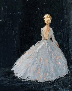 Elizabeth by Geri Eubanks, Petite Framed Oil on Canvas Blonde Figure Painting