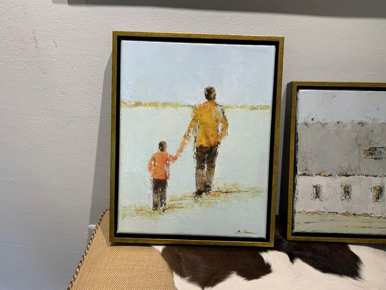 Father and Son by Geri Eubanks, Petite Framed Impressionist Oil Painting For Sale 1