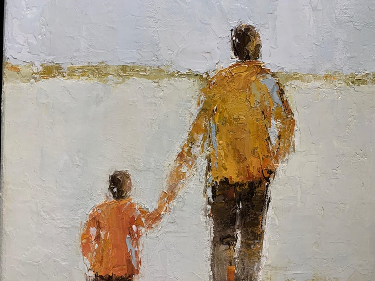 Father and Son by Geri Eubanks, Petite Framed Impressionist Oil Painting For Sale 4