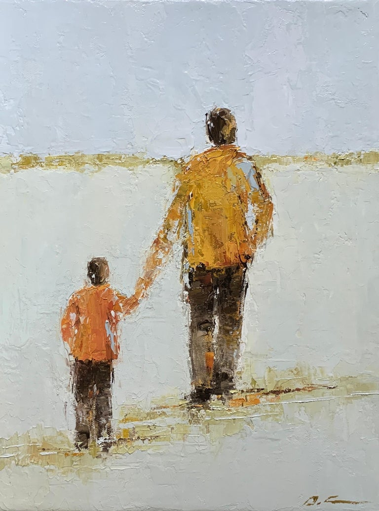 'Father and Son' is a petite framed oil on canvas Impressionist painting created by American artist Geri Eubanks in 2020. Featuring a soft palette made of blue, orange, brown, grey, off-white and black tones, this small figurative painting captures