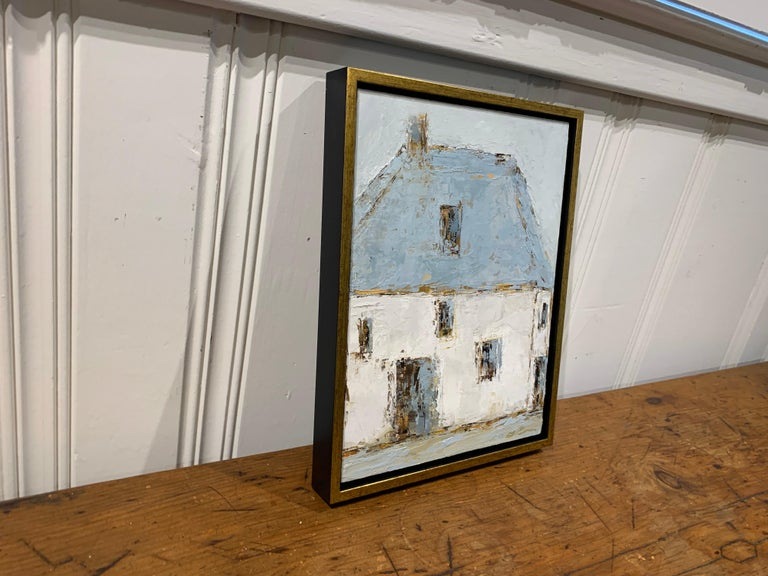 French Barn IV, Geri Eubanks, Small Impressionist Oil on Canvas Framed Painting For Sale 5