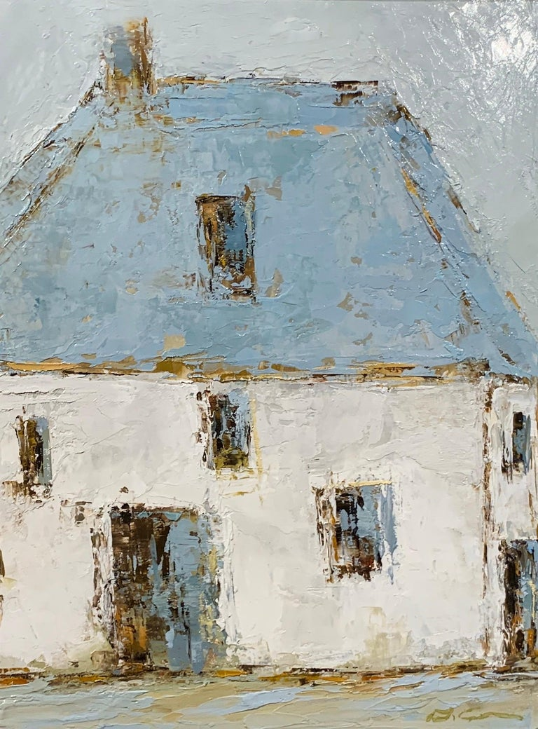 'French Barn IV' is a small framed oil on canvas Impressionist painting created by American artist Geri Eubanks in 2020. Featuring a soft palette made of white, grey, light blue and brown tones, the painting depicts in close view a large barn with