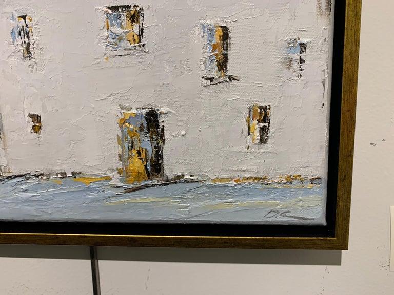 French Cottage II, Geri Eubanks, Impressionist Oil on Canvas Framed Painting For Sale 1