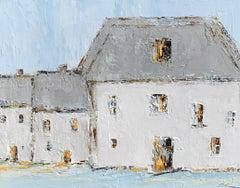 French Cottage II, Geri Eubanks, Impressionist Oil on Canvas Framed Painting