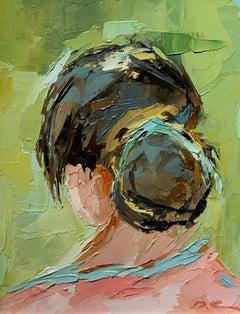 Head Portrait by Geri Eubanks, Small Framed Figure Impressionist Oil Painting