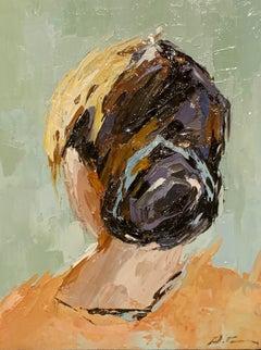 Head Portrait II by Geri Eubanks, Small Framed Figure Impressionist Oil Painting