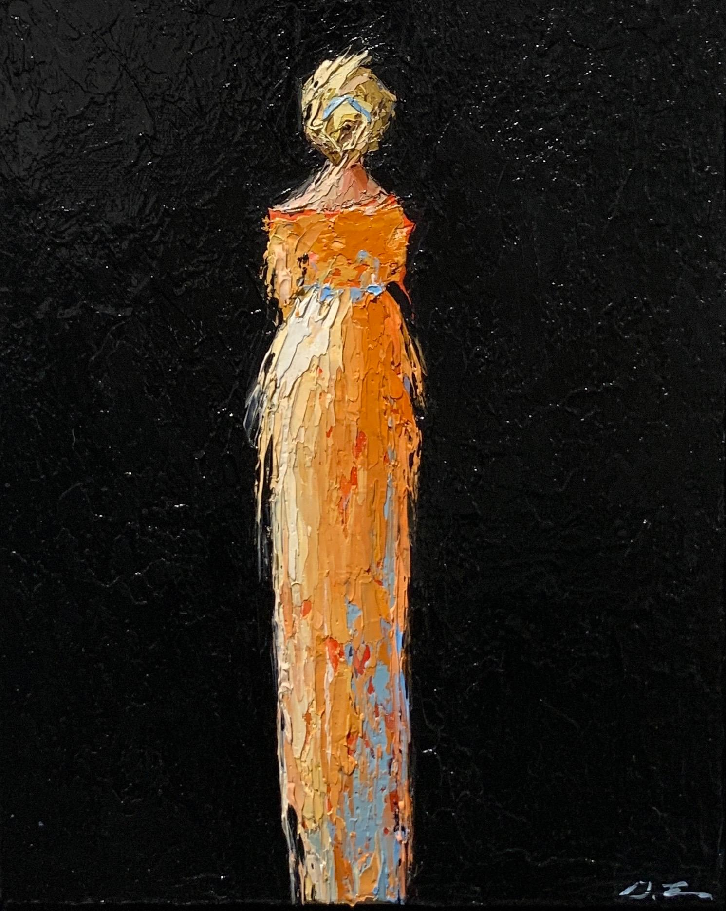 Magnolia by Geri Eubanks, Vertical Framed Figurative Oil on Canvas Painting