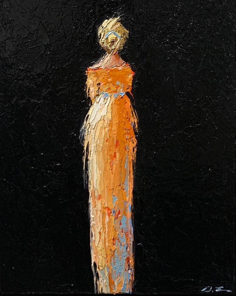 'Magnolia' is a framed Impressionist figurative oil on canvas painting of vertical format, created by American artist Geri Eubanks in 2021. Featuring a palette made of blue, orange, cream black and coral tones, the painting depicts an elegant blond