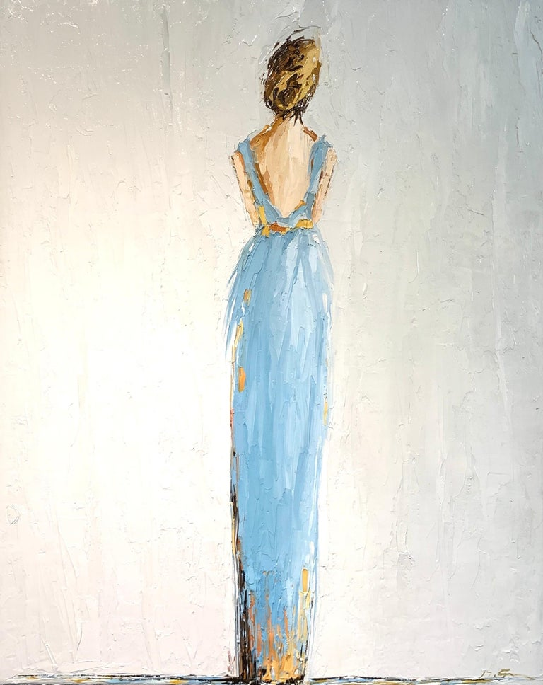 'Olivia', is a vertical framed Impressionist figurative oil on canvas painting created by American artist Geri Eubanks in 2020. Featuring a palette made of sky blue, grey and golden tonalities, the painting depicts a blond-haired woman represented