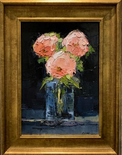 Pink Roses by Geri Eubanks, Small Framed Impressionist Floral Oil Painting