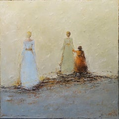 Walk With Me by Geri Eubanks 2018, Square Figurative Impressionist Oil on Canvas