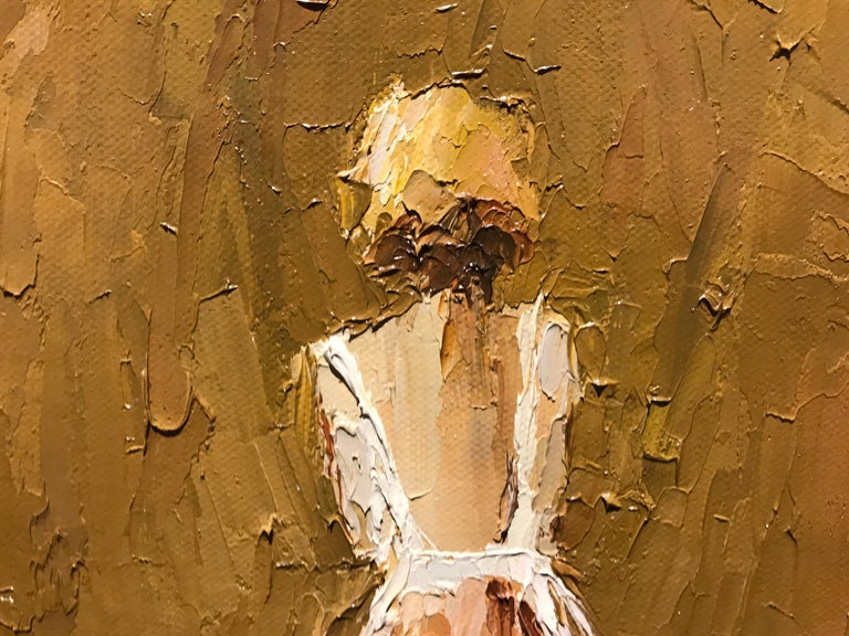 Yvette II by Geri Eubanks, Small Framed Impressionist Figurative Oil Painting For Sale 3