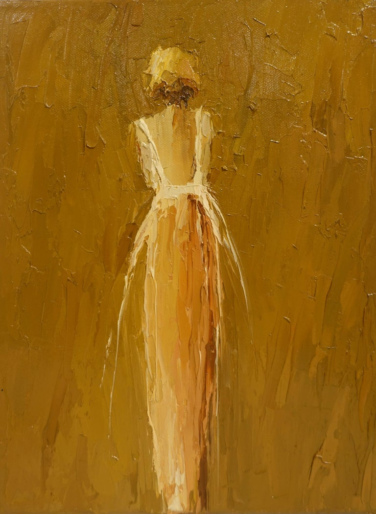 'Yvette II' is a petite framed Impressionist figurative oil on canvas painting created by American artist Geri Eubanks in 2019. Featuring a superb palette made of golden tones, the painting captures our hearts with its great presence. Painted on a