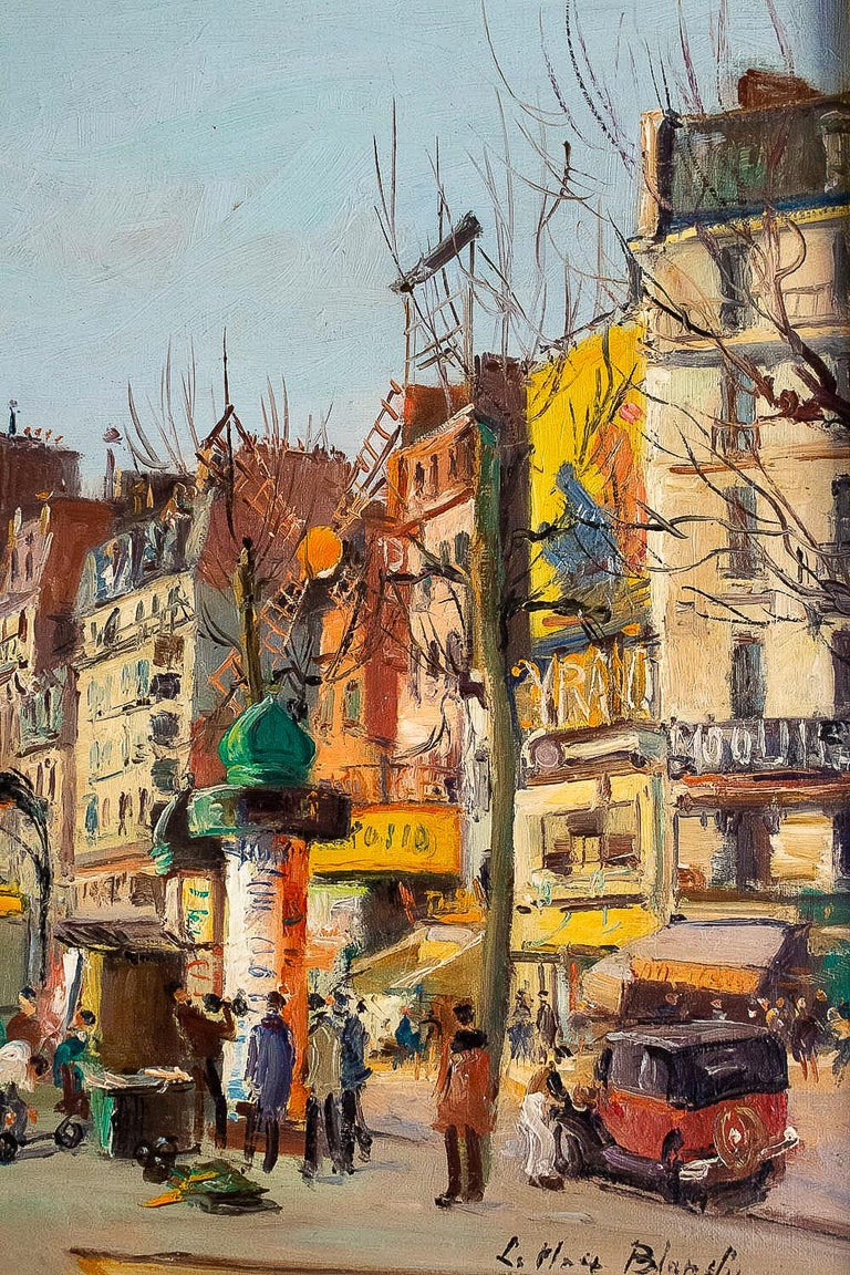 Germain Jean 'Jacob', Oil on Canvas 'La Place Blanche Paris', circa 1948 For Sale 4