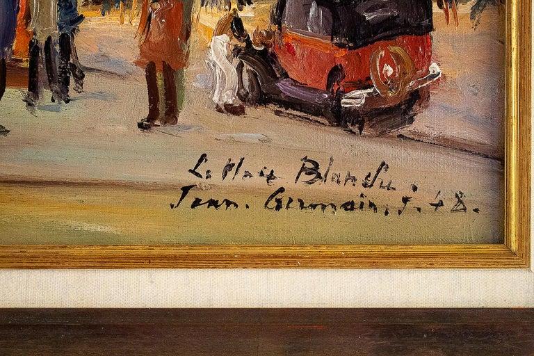 Germain Jean Jacob, Oil on Canvas La Place Blanche Paris, circa 1948 For Sale 8
