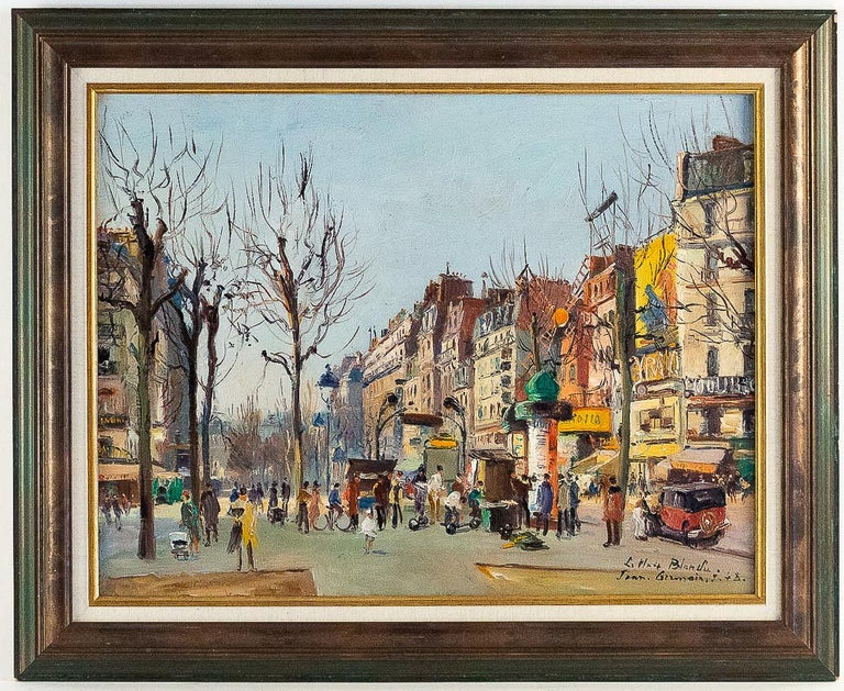 """Germain Jean (Jacob), oil on canvas """"La Place Blanche Paris"""", circa 1948.  A lovely oil on canvas, """"La Place Blanche – Paris"""", this painting depicts perfectly The Paris of 1950s.   Measurements unframed: H 20.86 In. - W 26.77 In. Measurements"""