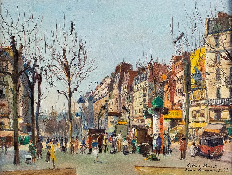 Germain Jean Jacob, Oil on Canvas La Place Blanche Paris, circa 1948 In Good Condition For Sale In Saint Ouen, FR