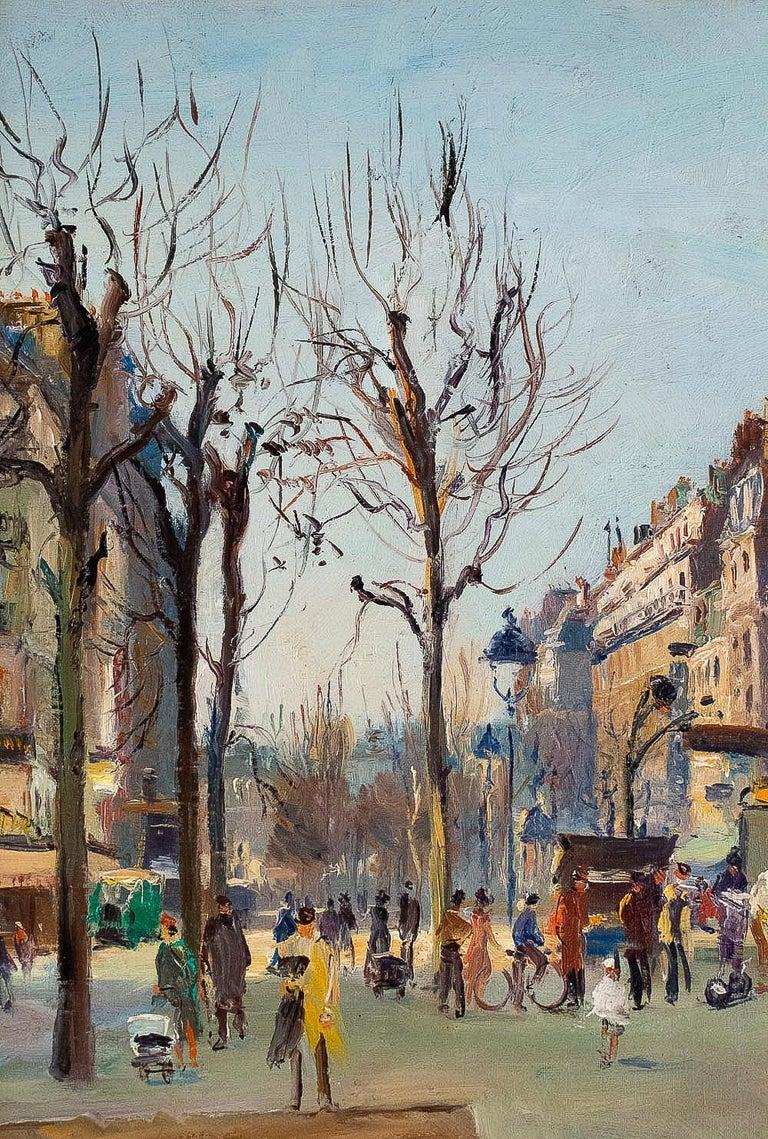 Germain Jean Jacob, Oil on Canvas La Place Blanche Paris, circa 1948 For Sale 1