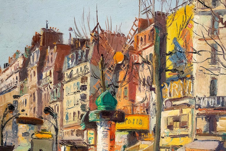 Germain Jean 'Jacob', Oil on Canvas 'La Place Blanche Paris', circa 1948 In Good Condition For Sale In Saint Ouen, FR