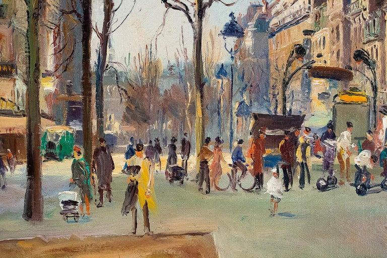 Germain Jean Jacob, Oil on Canvas La Place Blanche Paris, circa 1948 For Sale 3