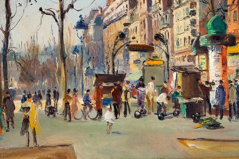 Germain Jean Jacob, Oil on Canvas La Place Blanche Paris, circa 1948 For Sale 4