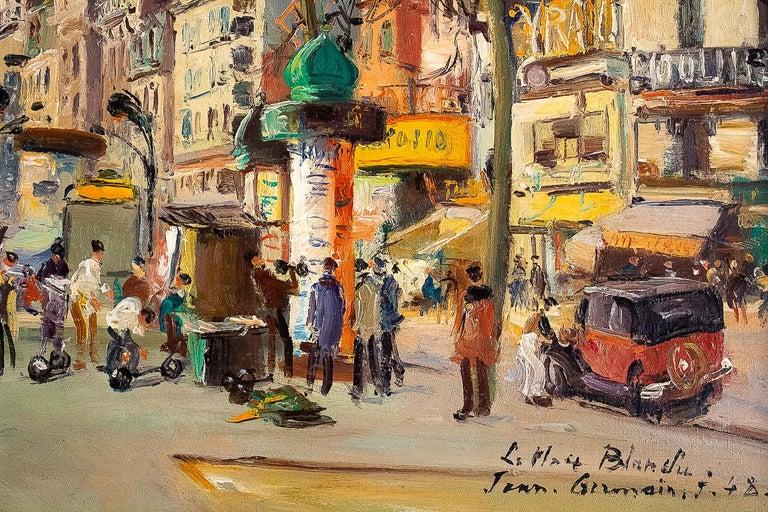 Germain Jean Jacob, Oil on Canvas La Place Blanche Paris, circa 1948 For Sale 5