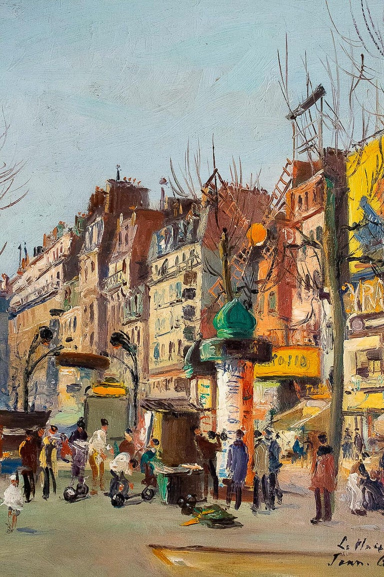 Germain Jean Jacob, Oil on Canvas La Place Blanche Paris, circa 1948 For Sale 6