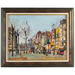 Germain Jean 'Jacob', Oil on Canvas 'La Place Blanche Paris', circa 1948