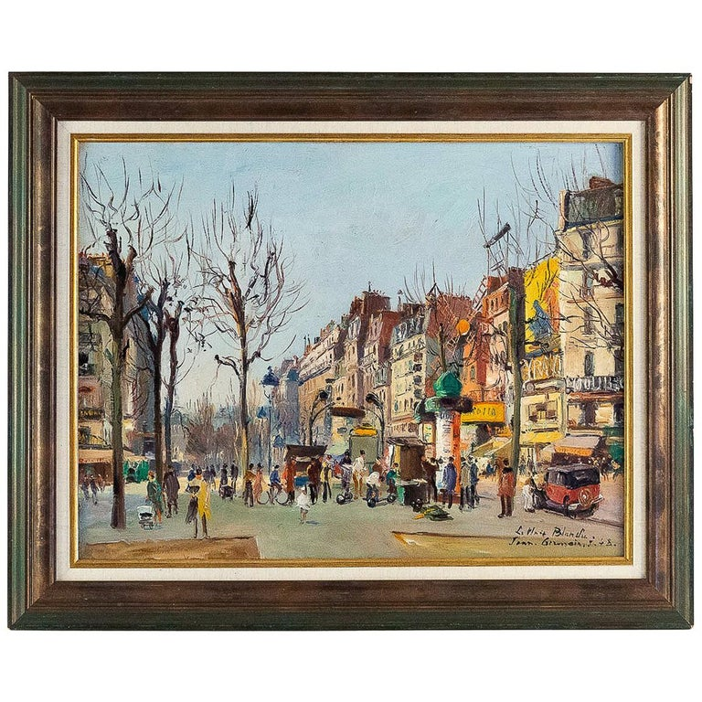 Germain Jean 'Jacob', Oil on Canvas 'La Place Blanche Paris', circa 1948 For Sale