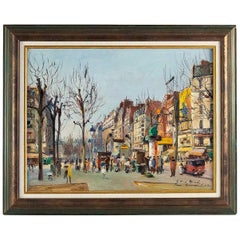 Germain Jean Jacob, Oil on Canvas La Place Blanche Paris, circa 1948