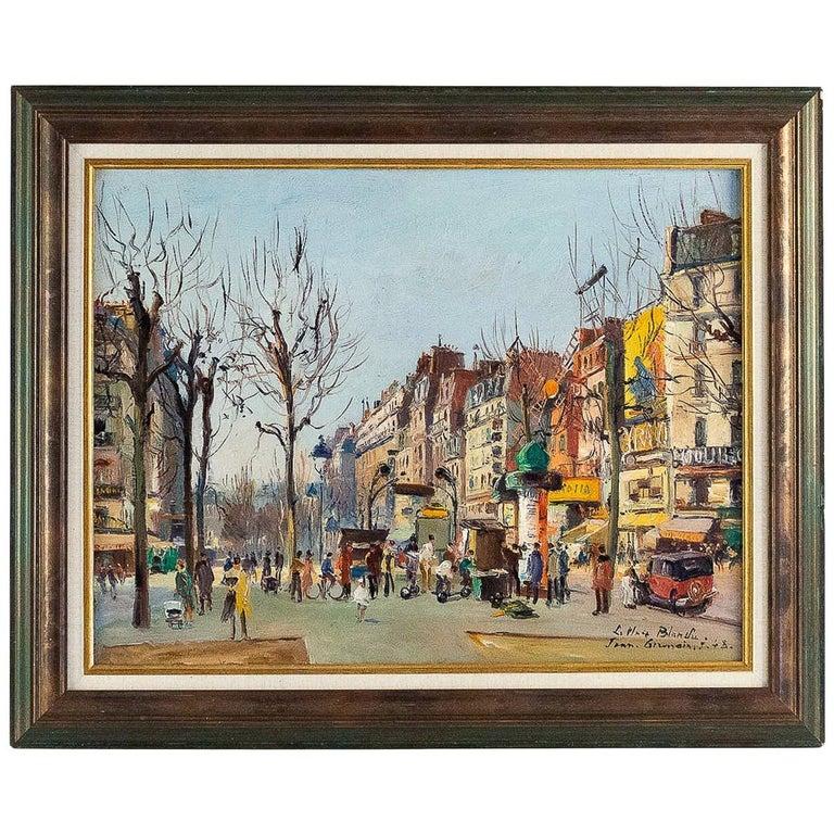 Germain Jean Jacob, Oil on Canvas La Place Blanche Paris, circa 1948 For Sale