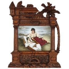 Germain Porcelain Plaque in Ornate Carved Black Forest Frame