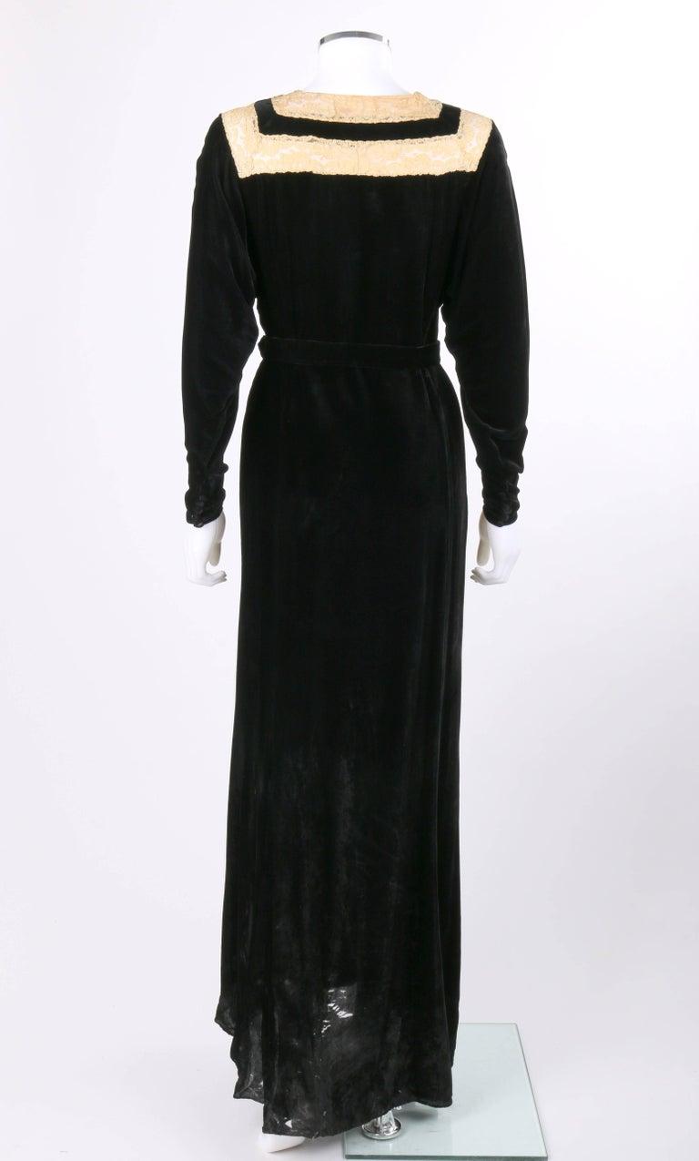 Germaine Monteil C 1930s Black Silk Velvet Belted Floral