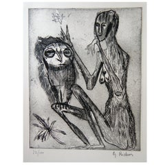 Germaine Richier French Artist Original Etching, Figure with Owl