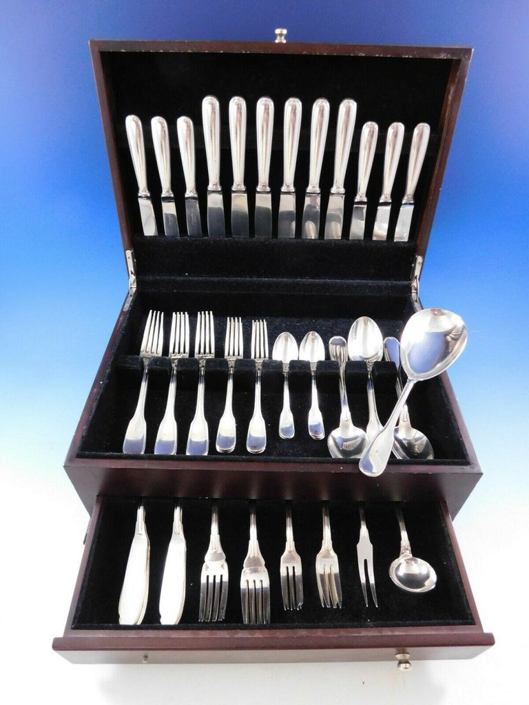 Plunir by Christofle France estate silverplate flatware set - 54 pieces. This set includes:  6 dinner knives, 8 3/4