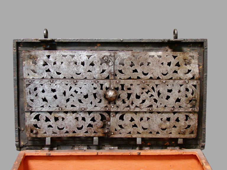 German 17th Century Painted Iron Armada Chest In Good Condition In San Francisco, CA