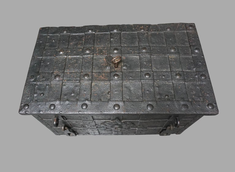 German 17th Century Painted Iron Armada Chest 1