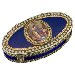 German 18-Karat Gold and Hand Painted Enamel Snuff Box, circa 1780