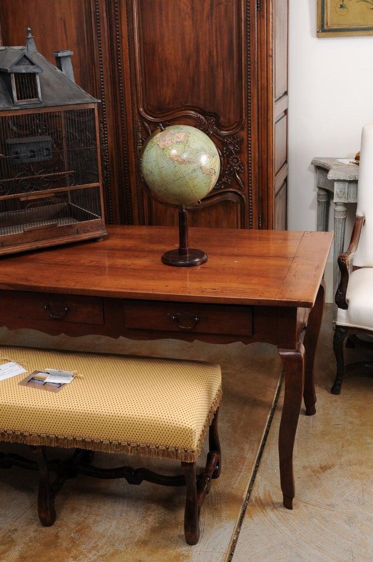 German 1890s Columbus Volksglobus Terrestrial Globe with Circular Wooden Base For Sale 6