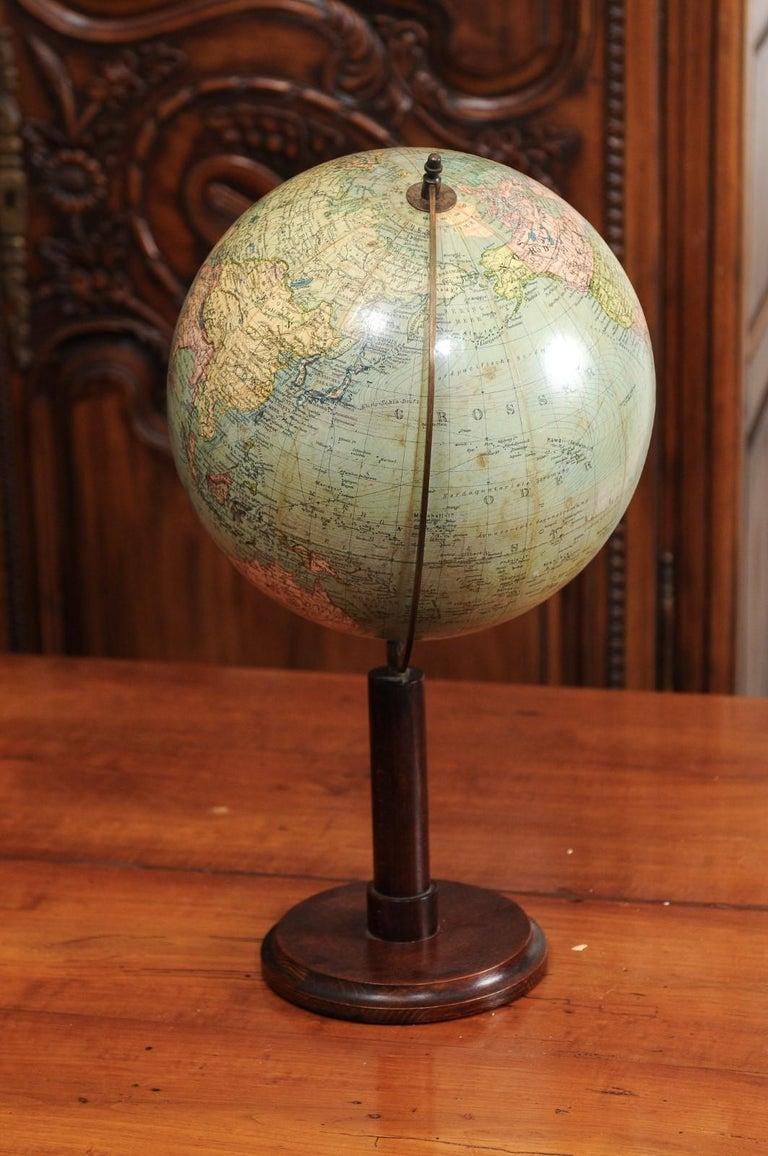 German 1890s Columbus Volksglobus Terrestrial Globe with Circular Wooden Base For Sale 7