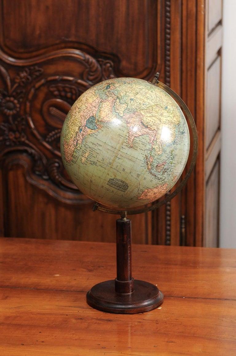 German 1890s Columbus Volksglobus Terrestrial Globe with Circular Wooden Base For Sale 8