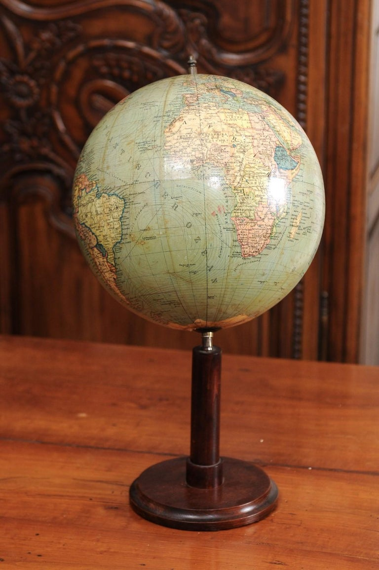 German 1890s Columbus Volksglobus Terrestrial Globe with Circular Wooden Base For Sale 9