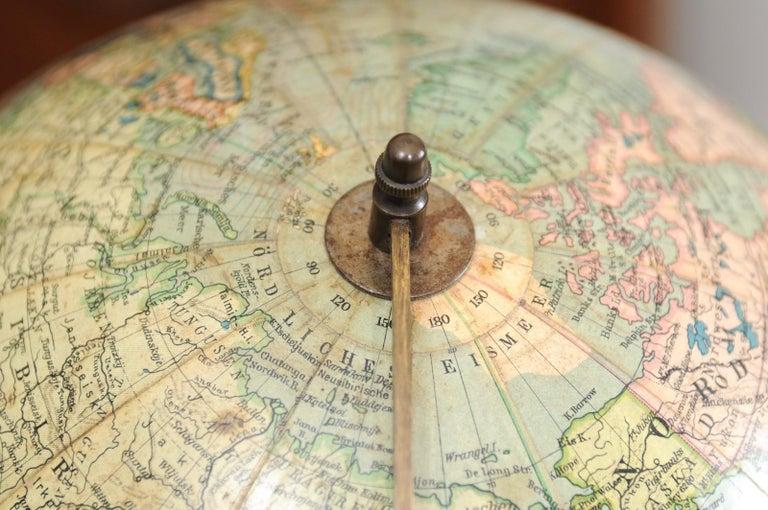 German 1890s Columbus Volksglobus Terrestrial Globe with Circular Wooden Base For Sale 10