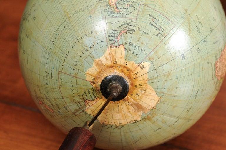 German 1890s Columbus Volksglobus Terrestrial Globe with Circular Wooden Base For Sale 11