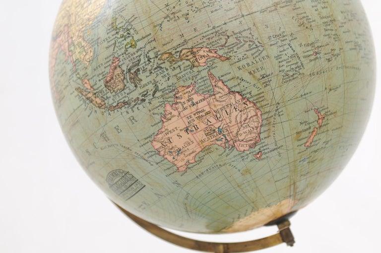 German 1890s Columbus Volksglobus Terrestrial Globe with Circular Wooden Base For Sale 1