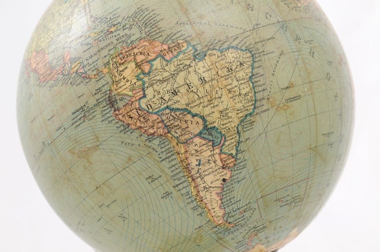 German 1890s Columbus Volksglobus Terrestrial Globe with Circular Wooden Base For Sale 2