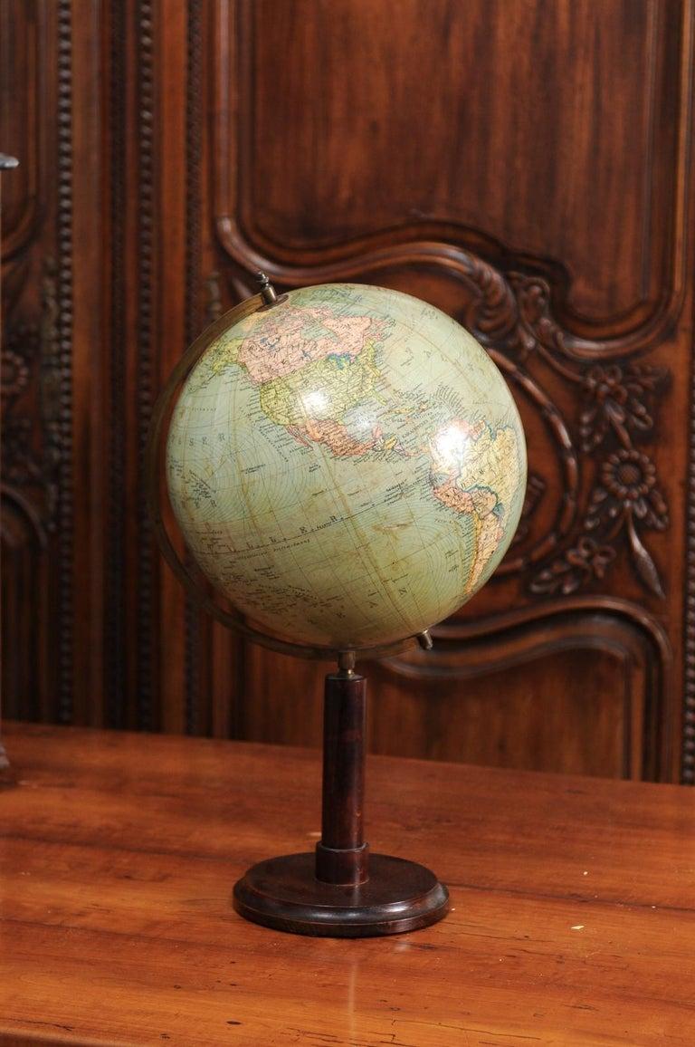 German 1890s Columbus Volksglobus Terrestrial Globe with Circular Wooden Base For Sale 3